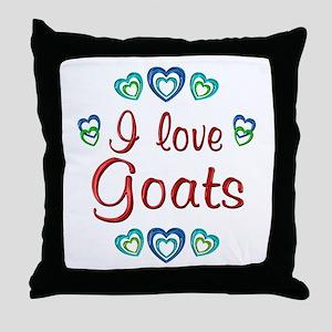 I Love Goats Throw Pillow