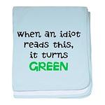 Idiot Green baby blanket