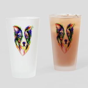 Bright Border Collie Drinking Glass