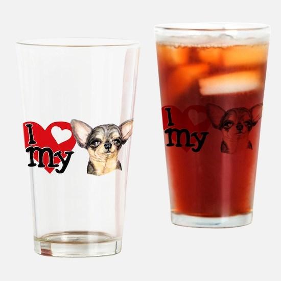 Love My B&T Chihuahua Drinking Glass
