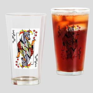 Blk Doberman Joker Drinking Glass
