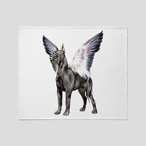 Great Dane Angel Black Throw Blanket