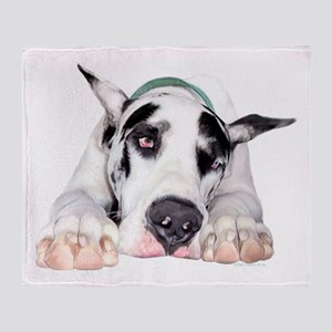 Great Dane Shy Harlequin Throw Blanket