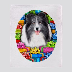 Sheltie Christmas Bi Blue Throw Blanket