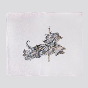 Afghan Hound Carousel II Throw Blanket
