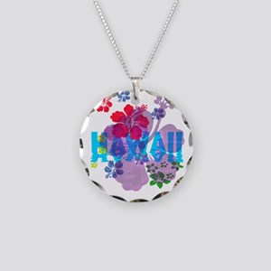 Hawaii Hibiscus Necklace Circle Charm