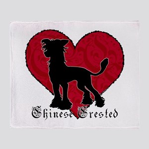 Chinese Crested Heart Throw Blanket