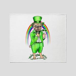 Pug St Patrick's Day Throw Blanket