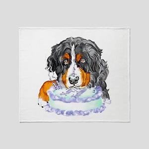 Bernese MT Dog Birthday Throw Blanket