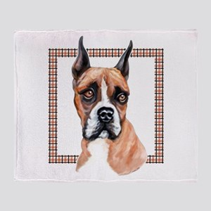 Boxer in Plaid Throw Blanket