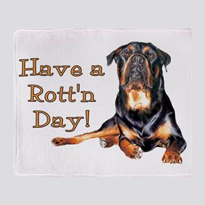 Rottweiler Rott'n Day Throw Blanket