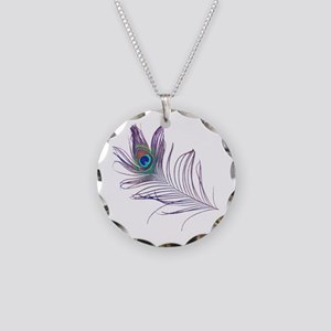 PEACOCK FEATHER Necklace Circle Charm