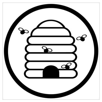 Bee Hive Black and White Poster