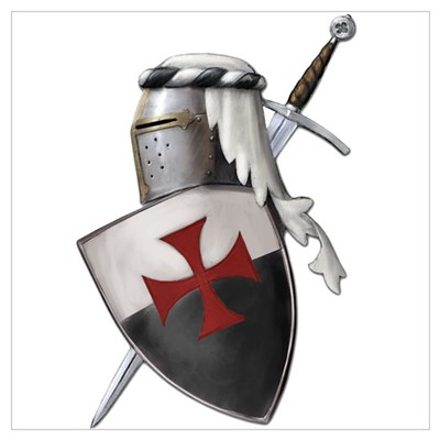 Templar shield with white top Poster