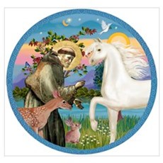 St Francis/Horse (Ar-W) Poster