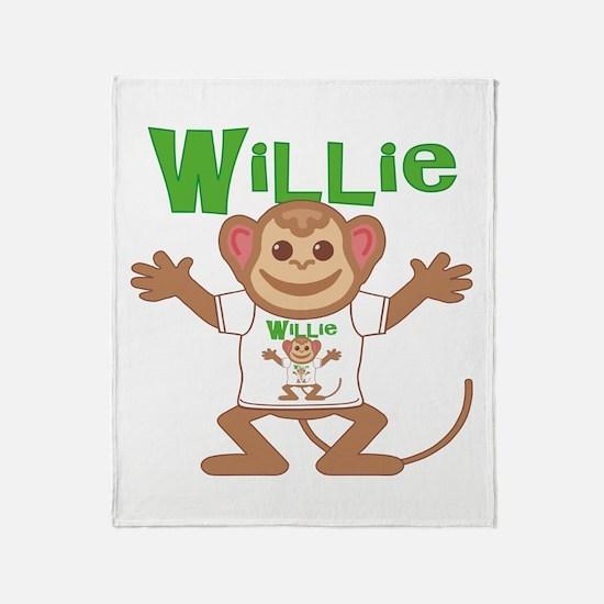 Little Monkey Willie Throw Blanket