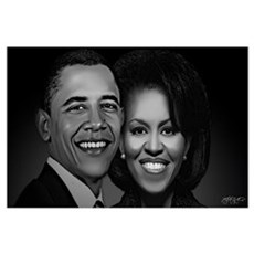 The President and First Lady (Black and White) Poster