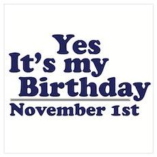 November 1st Birthday Poster
