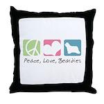 Peace, Love, Beardies Throw Pillow