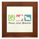 Peace, Love, Beardies Framed Tile