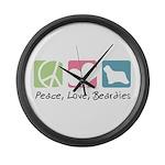 Peace, Love, Beardies Large Wall Clock