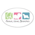 Peace, Love, Beardies Sticker (Oval 50 pk)