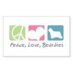 Peace, Love, Beardies Sticker (Rectangle 50 pk)