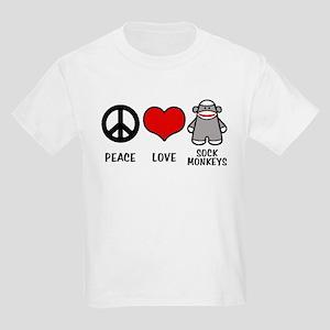 Peace love Sock Monkeys Kids Light T-Shirt