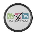 Peace, Love, Ridgebacks Large Wall Clock