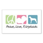 Peace, Love, Ridgebacks Sticker (Rectangle 10 pk)