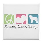 Peace, Love, Saints Tile Coaster