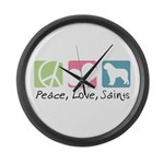 Peace, Love, Saints Large Wall Clock
