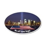 9-11 We Will Never Forget 20x12 Oval Wall Decal