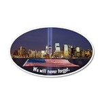 9-11 We Will Never Forget 35x21 Oval Wall Decal