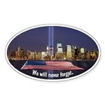 9-11 We Will Never Forget Sticker (Oval 10 pk)