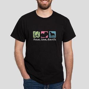 Peace, Love, Mastiffs Dark T-Shirt