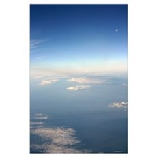 Aerial clouds with full moon and earth below Poster