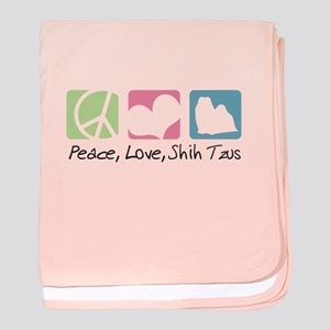 Peace, Love, Shih Tzus baby blanket