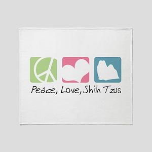 Peace, Love, Shih Tzus Throw Blanket