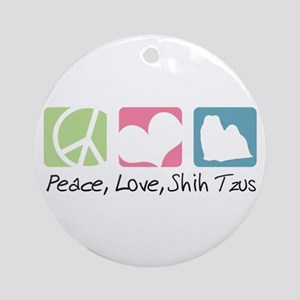 Peace, Love, Shih Tzus Ornament (Round)