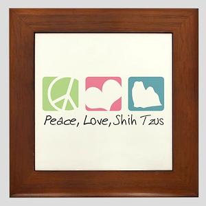 Peace, Love, Shih Tzus Framed Tile