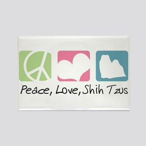 Peace, Love, Shih Tzus Rectangle Magnet