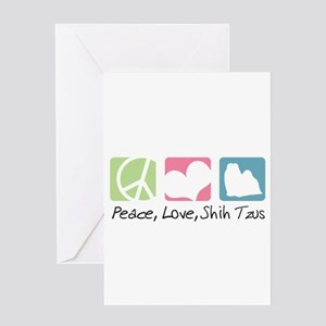 Peace, Love, Shih Tzus Greeting Card