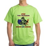 Stop The Invasion Green T-Shirt