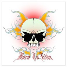 bmx,flaming skull Poster