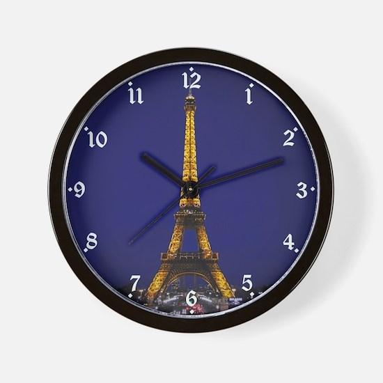 Eiffel Tower at Blue Hour Wall Clock