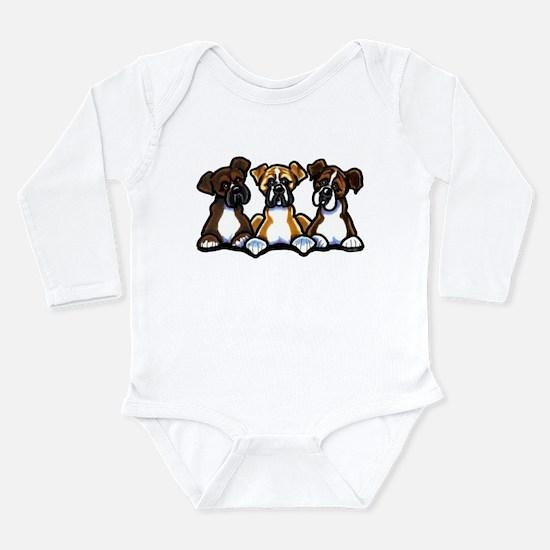 Three Boxer Lover Long Sleeve Infant Bodysuit