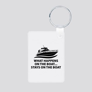 What Happens On The Boat Aluminum Photo Keychain