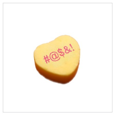 Word Symbols On A Candy Heart P Framed Print