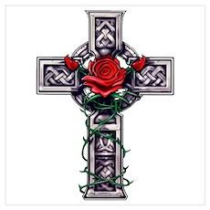 Cross Celtic Rose Poster